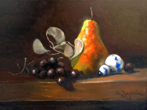 Title: RED PEAR , Size: 9 x 12 , Medium: Oil on Canvas