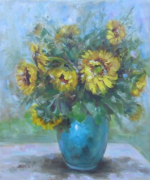 Title: SUNFLOWER STILL LIFE , Size: 24 x 20 , Medium: Oil on Canvas