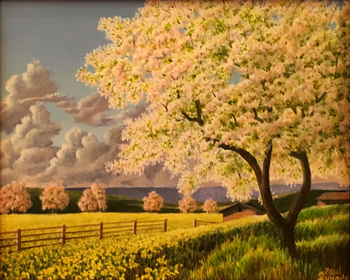 Title: Field White White Trees , Size: 8 x 10 , Medium: Oil on Canvas