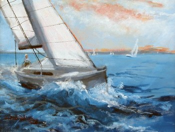 Title: SOUTH BAY SAILING , Size: 11 x 14 , Medium: Oil on Panel