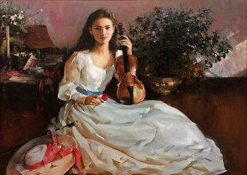 Title: Violin Time , Size: 40 x 30 , Medium: Oil on Canvas