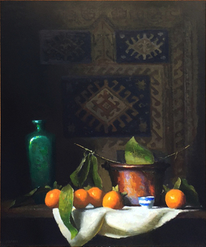 Title: PERSIMMON AND COPPER , Size: 24 x 20 , Medium: Oil on Canvas
