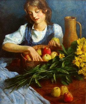 Title: GIRL W/APPLES , Size: 30 x 24 , Medium: Oil on Panel