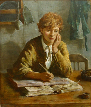 Title: THE STUDENT , Size: 28 x 23 , Medium: Oil on Canvas