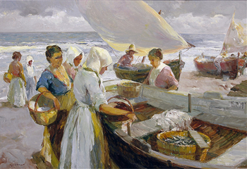 Title: PESCADORES , Size: 35 x 51 , Medium: Oil on Canvas