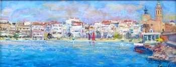 Title: STIGES, SPAIN , Size: 8 x 18 , Medium: Oil on Panel