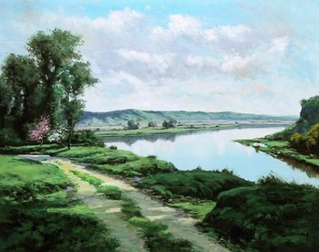 Title: RIVERSIDE PATHWAY , Size: 24 x 30 , Medium: Oil on Canvas