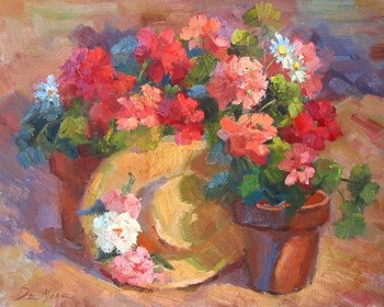 Title: FLOWER POT AND HAT , Size: 16 x 20 , Medium: Oil on Canvas