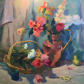 Title: STILL LIFE , Size: 40 x 40 , Medium: Oil on Canvas
