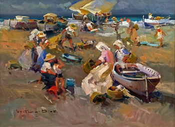 Title: Preparing the Boats , Size: 20 x 24 , Medium: Oil on Canvas