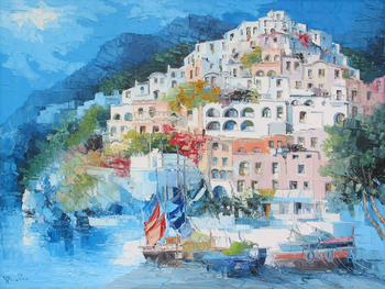 Title: POSITANO , Size: 36 x 48 , Medium: Oil on Canvas
