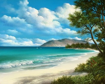 Title: MORNING AT KAMAOLE BEACH PARK , Size: 24 x 30 , Medium: Oil on Canvas