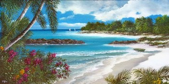 Title: ISLAND LIFE , Size: 12 x 24 , Medium: Oil on Canvas