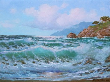 Title: SOUTHWIND ALONG BIG SUR , Size: 12 x 16 , Medium: Oil on Canvas