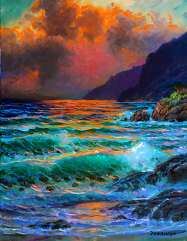 Title: Pacific Sunset , Size: 30 x 24 , Medium: Oil on Canvas