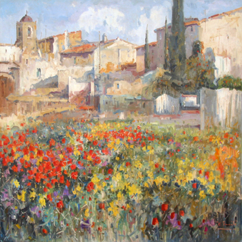Title: PUEBLO DE MALAGA , Size: 30 x 30 , Medium: Oil on Canvas