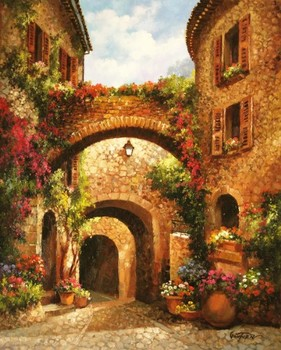 Title: SPANISH ARCH , Size: 30 x 24 , Medium: Oil on Canvas