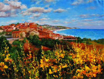 Title: Italy Magnificent , Size: 36 x 48 , Medium: Oil on Canvas