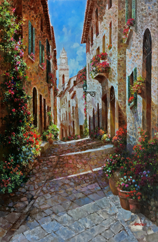Title: Street Scene of Tuscany , Size: 40 x 30 , Medium: Oil on Canvas