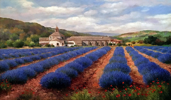 Title: Lavender Fields of Provence , Size: 24 x 36 , Medium: Oil on Canvas