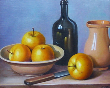 Title: YELLOW APPLES , Size: 8 x 10 , Medium: Oil on Canvas