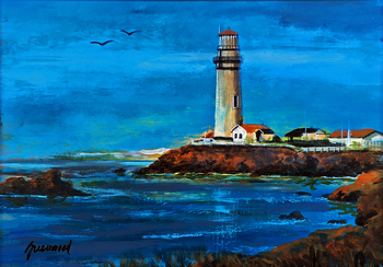 Title: East Coast Lighthouse , Size: 16 x 20 , Medium: Oil on Panel