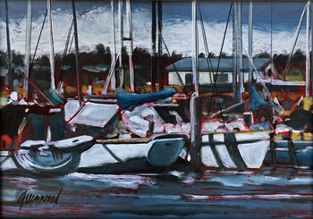 Title: Boat Scene , Size: 12 x 16 , Medium: Oil on Panel