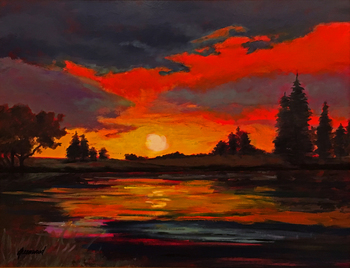 Title: Sunset , Size: 24 x 30 , Medium: Oil on Panel