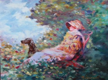 Title: LADY AND DOG , Size: 20 x 23 , Medium: Oil on Canvas