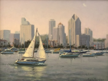 Title: Harbor Sail , Size: 12 x 16 , Medium: Oil on Canvas