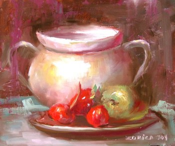 Title: STILL LIFE WITH CHERRIES , Size: 7 x 9 , Medium: Oil on Canvas