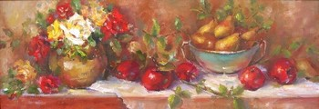 Title: ROSES AND PEARS , Size: 12 x 35 , Medium: Oil on Canvas