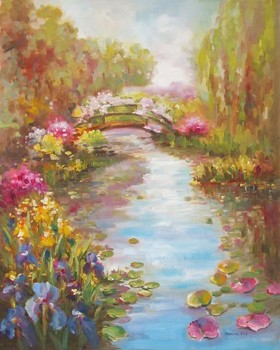 Title: MORNING IN MONET'S GARDEN , Size: 30 x 24 , Medium: Oil on Canvas