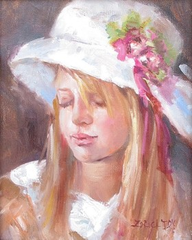 Title: GIRL WITH HAT , Size: 10 x 8 , Medium: Oil on Panel