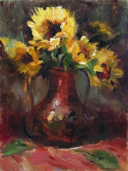 Title: SUNFLOWERS , Size: 12 x 9 , Medium: Oil on Canvas