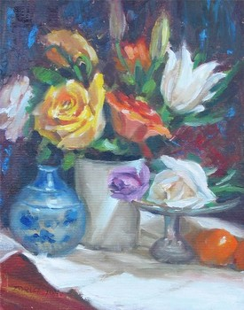 Title: FLOWERS AND ORANGES , Size: 14 x 11 , Medium: Oil on Canvas