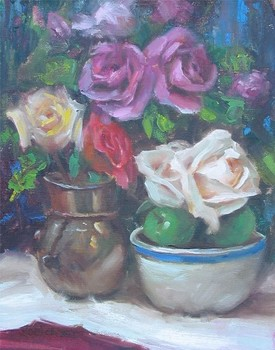 Title: FLOWERS AND APPLES , Size: 14 x 11 , Medium: Oil on Canvas