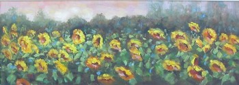 Title: SUNFLOWERS FIELDS , Size: 13 x 36 , Medium: Oil on Canvas