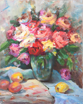 Title: PINK ROSES , Size: 20 x 16 , Medium: Oil on Canvas