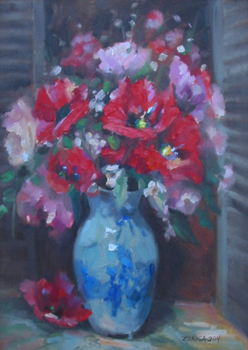 Title: POPPIES, POPPIES , Size: 20 x 16 , Medium: Oil on Canvas