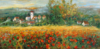 Title: TUSCANY , Size: 20 x 40 , Medium: Oil on Canvas
