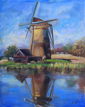Title: DUTCH LANDSCAPE , Size: 20 x 16 , Medium: Oil on Canvas