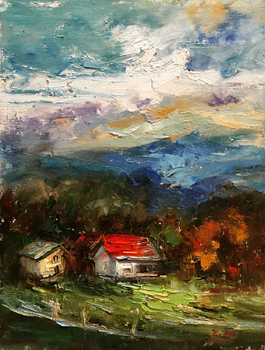 Title: Afternoon Sky , Size: 14 x 11 , Medium: Oil on Panel