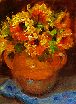 Title: Sunflowers , Size: 10 x 8 , Medium: Oil on Panel