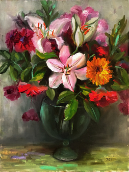 Title: Mixed Flowers , Size: 20 x 16 , Medium: Oil on Panel