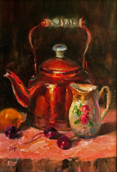 Title: Copper and Cherries , Size: 14 x 11 , Medium: Oil on Panel