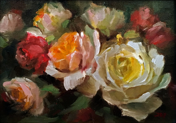 Title: Roses Delight , Size: 8 x 10 , Medium: Oil on Panel