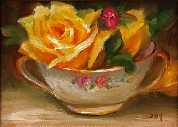 Title: Yellow Roses , Size: 5 x 7 , Medium: Oil on Panel