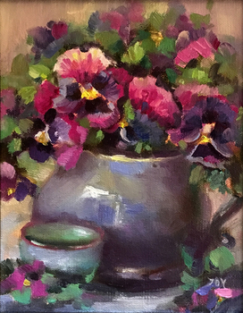 Title: Violets , Size: 9 x 7 , Medium: Oil on Panel