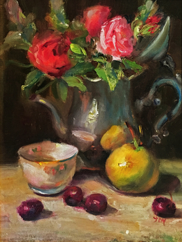 Title: Roses & Cherries , Size: 12 x 9 , Medium: Oil on Canvas